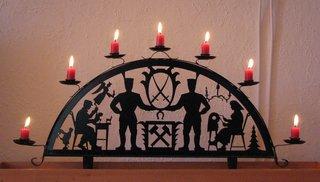 Erzgebirgischer Schwibbogen #2 - Weihnachten, Dekoration, Kerzen, Licht, Lichterbogen, Schwebebogen, Strebebogen, Schwibbogen, Bergmann, Bergbau, Engel, Handwerk, Klöppeln, sieben