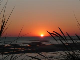 Ein Tag geht zu Ende #1 - Sonnenuntergang, Insel, Langeoog, Ostfriesland, Meer, Dünen, Strandhafer, Poster, Idylle, Schreibanlass, Meditation, Abendrot, Sonne