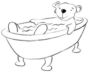 baden - baden, Grundwortschatz, Wanne, Badewanne, Bär, Illustration, bear, tub, bath, bathe