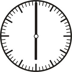 Uhrzeit 6.00   18.00 - Uhr, Uhrzeit, volle Stunde, ganze Stunde, Zeit, Zeitspanne, Zeitpunkt, Zeiger, Mechanik, Zeitskala, Zeitgeber, Analoguhr, Zifferblatt, Ziffernblatt, rechtsdrehend, Uhrzeigersinn, Minute, Kreis, Winkel, Grad, Mathematik, Größen, messen, time, clock, ermitteln, Zeitraum, Dauer, Frist, Termin, Zeitabschnitt