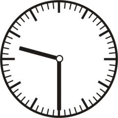 Uhrzeit 9.30     21.30 - Uhr, Uhrzeit, halb, Zeit, Zeitspanne, Zeitpunkt, Zeiger, Mechanik, Zeitskala, Zeitgeber, Analoguhr, Zifferblatt, Ziffernblatt, rechtsdrehend, Uhrzeigersinn, Minute, Stunde, Kreis, Winkel, Grad, Mathematik, Größen, messen, time, clock, ermitteln, Zeitraum, Dauer, Frist, Termin, Zeitabschnitt, half past