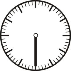 Uhrzeit - Blanko Uhr halb - Uhr, Uhrzeit, halb, Zeit, Zeitspanne, Zeitpunkt, Zeiger, Mechanik, Zeitskala, Zeitgeber, Analoguhr, Zifferblatt, Ziffernblatt, rechtsdrehend, Uhrzeigersinn, Minute, Stunde, Kreis, Winkel, Grad, Mathematik, Größen, messen, time, clock, ermitteln, Zeitraum, Dauer, Frist, Termin, Zeitabschnitt, half past