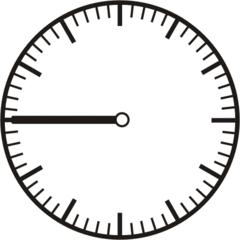 Uhrzeit - Blanko Uhr dreiviertel (Viertel vor) - Uhr, Uhrzeit, dreiviertel, viertel vor, Zeit, Zeitspanne, Zeitpunkt, Zeiger, Mechanik, Zeitskala, Zeitgeber, Analoguhr, Zifferblatt, Ziffernblatt, rechtsdrehend, Uhrzeigersinn, Minute, Stunde, Kreis, Winkel, Grad, Mathematik, Größen, messen, time, clock, ermitteln, Zeitraum, Dauer, Frist, Termin, Zeitabschnitt, quarter