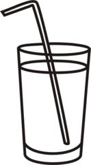 Glas - Glas, voll, Getränk, trinken, Strohhalm, Anlaut G