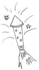 Rakete - Feuerwerk, Rakete, Feuerwerksrakete, Silvester, Anlaut R, Pyrotechnik, Antrieb, Rückstoß