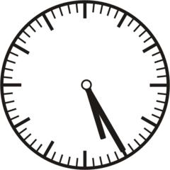 Uhrzeit  5.25  17.25 - Uhr, fünf Minuten vor, Uhrzeit, Zeit, Zeitspanne, Zeitpunkt, Zeiger, Mechanik, Zeitskala, Zeitgeber, Analoguhr, Zifferblatt, Ziffernblatt, rechtsdrehend, Uhrzeigersinn, Minute, Stunde, Kreis, Winkel, Grad, Mathematik, Größen, messen, time, clock, ermitteln, Zeitraum, Dauer, Frist, Termin, Zeitabschnitt, twenty-five