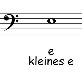 Bassschlüssel: e - Noten, Notation, Notenschlüssel