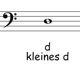 Bassschlüssel: d - Noten, Notation, Notenschlüssel