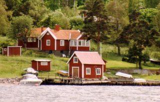 Häuser auf Gotland - Gotland, Schweden, Wasser, Bäume, Haus, Häuser