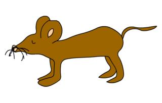 braune Maus - Maus, Feldmaus, Hausmaus, Mäuse, Anlaut M, braun, Illustration