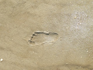 Fußspur im Sand - Fußabdruck, Fußspur, Sand, Abdruck, Fuß, Spur, Schreibanlass