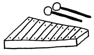 Xylophon - Orff-Instrument, Musik, Instrument, Schlaginstrument, Hartholzstäbe, Holzschläger, löffelartig, Glockenspiel