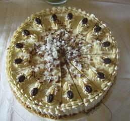 Cappuccinotorte - Kuchen, Torte, Cappuccinotorte, Buttercreme, Mokka, Mokkabohnen, verzieren, garnieren, Biskuitmasse, Biskuitteig