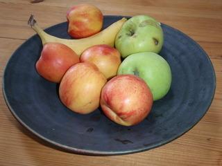 Obstschale - Schale, Obst, Banane, Apfel, Pfirsisch