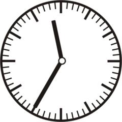 Uhrzeit 11.35  23.35 - Uhr, fünf Minuten nach halb, Uhrzeit, Zeit, Zeitspanne, Zeitpunkt, Zeiger, Mechanik, Zeitskala, Zeitgeber, Analoguhr, Zifferblatt, Ziffernblatt, rechtsdrehend, Uhrzeigersinn, Minute, Stunde, Kreis, Winkel, Grad, Mathematik, Größen, messen, time, clock, ermitteln, Zeitraum, Dauer, Frist, Termin, Zeitabschnitt, thirty-five