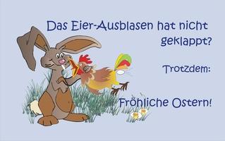 Osterkarte - Ostern, Fest, feiern, Jahreszeit, Karte, Hase, Eier, ausblasen, Osterhase