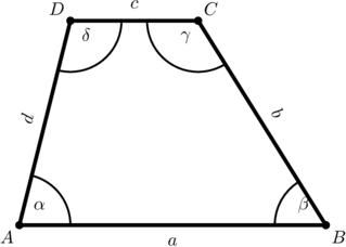 Trapez mit Winkel- und Seitenbeschriftungen - Trapez, parallel, Viereck, Figur, Geometrie, Ecke, eben, plan, Winkel