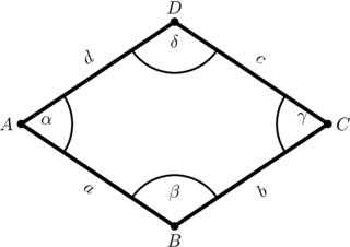 Eine Raute mit Winkel- und Seitenbeschriftungen - Raute, Viereck, Geometrie, Figur, eben, plan, Ecke, Winkel, gleichlang, parallel