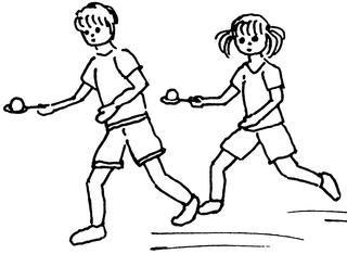 Staffelspiele - Junge, Mädchen, Kind, Laufen, Staffel, Staffelspiel, Spiel, Wettkampf, Sport, Illustration, Eier, Eierlauf