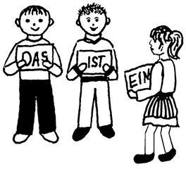 Kinder mit Wortkarten - Kind, drei, Illustration, Wort, Wörter, lesen
