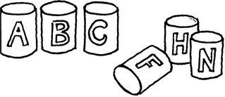 Dosen mit Buchstaben - Dosen, ABC, Buchstaben, illustration, Anlaut D, sechs, Zylinder