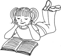 lesendes Mädchen - Lesen, Mädchen, Illustration, Kind, liegen, Wörter mit ä