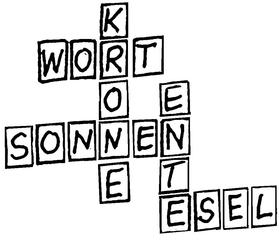 Kreuzwortspiel - Wort, Kreuzwort, Buchstabe, Spiel, Lesen, Illustration
