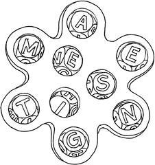 Wort-Tüftel - Buchstabe, Wort, Spiel, Illustration, Wort-Tüftel, Laufzettel, Stationsschild