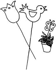 Blumentopfschmuck - Blume, Schmuck, Dekoration, Illustration, Stecker, Wörter mit ck