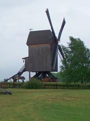 Bockwindmühle - Bockwindmühle, Windmühle, Mühle, Windkraft, Flügel, mahlen, Mehl, Getreide, Ständermühle, Kastenmühle, Mühlenhaus, Pfahl