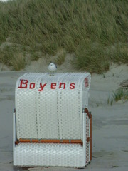 Ein Strandkorb - Strandkorb, Strand, Düne, Amrum, Sand, Dünengras