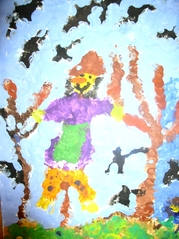 Vogelscheuche - Vogelscheuche, Kinderzeichnung, malen, Deckfarben, bunt