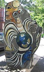 Uelzen - Weg d. Steine - Stein d. Botschaft - Stein, Skulptur, Kunst, Kunstobjekt, Plastik, Farbe, farbig, bunt