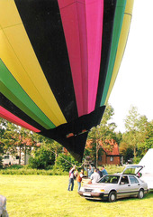 Ballonfahrt #10 - Ballon, Ballonfahrt, Heißluft, Heißluftballon, Auftrieb, Luft, fliegen, bunt, Feuer, Korb