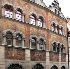 Konstanz Rathaus - Haus, Front, Bemalung, Schmuck, alt, Rathaus, bunt, Bilder, Malerei, Zunft, Zunfthaus
