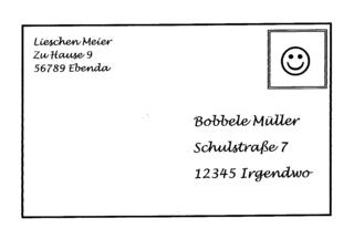 Briefumschlag - Vorderseite - Brief, Briefumschlag, Umschlag, Couvert, Adresse, Absender, Briefmarke, Post, Anlaut B, Name, Kuvert, Anschrift, Postleitzahl, Name, Vorname, Hausnummer, Wohnort