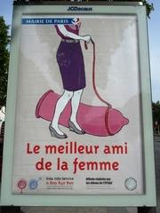 Plakat gegen Aids - Landeskunde, civilisation française, Paris, Plakat, Aids, Spruch, Kondom, Hundeleine, Humor, französisch