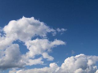 Wolken - Himmel, Wolken, Wetter, Cumulus, Cumuluswolken, weiß, blau, Schönwetter, Sommer, Meditation