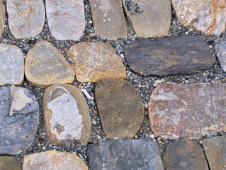 Straßenpflaster #1 - Steine, Straße, Pflaster, Pflasterung, Mittelalter, Kiesel, Belag, bunt, grau, Muster, Struktur