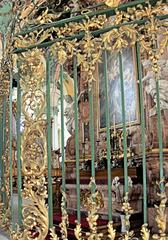 Schmiedeeisernes Gitter - Gitter, Gold, schmiedeeisern, Kunst, Handwerk, Schmuck, Ranken, Ornamente, Blätter, grün, Kirche, Barock, alt, Seitenaltar