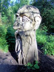Waldgeist #1 - Waldgeist, Skulptur, Holz, Kunst, Kunstwerk, Schnitzerei, Handwerk, Gesicht, Bart, Augen, Ohren, Baum, Schreibanlass
