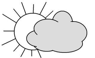 Heiter bis Wolkig - bewölkt, Wolke, Sonne, wolkig, heiter, Illustration, Wetter