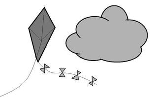 Wind - Wind, Wolke, Drachen, windig, wehen, blasen, Luftbewegung, Windstärke, Brise, Illustration, Wetter