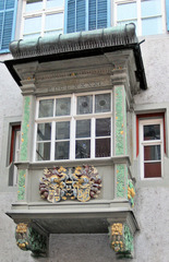 Erker - Erker, Fenster, alt, 17 Jahrhundert, Architektur, Stein, Wappen, Schmuck, MDCLXXXXI, bunt, Ranken, Löwen, Verzierung
