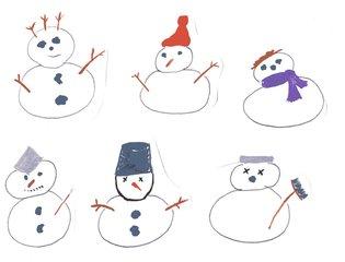 kleine Schneemänner - Winter, Schnee, kalt, Anlaut Sch, Schneemann, Illustration