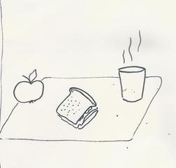 Piktogramm 1. Klasse Frühstück - Frühstück, Piktogramm_Stundenplan1, Pause, Brot, Apfel, Getränk