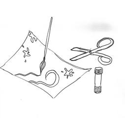 Piktogramm  1. Klasse Kunst - Kunst, malen, kleben, schneiden, Schere, Pinsel, Zeichnung, Klebestift, Piktogramm_Stundenplan1