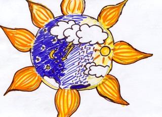 Sonne  - Erde, Wetter, Sonne, Regen, Wolken, Erdkugel, Mond, Sterne, Blitz