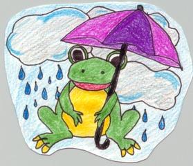 Wetterfrosch - Wetter, Regen, Regenschirm, Frosch, Wetterfrosch, Wolken, Laubfrosch, Regentropfen, Illustration