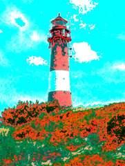 Leuchtturm Hörnum - Leuchtturm, Hörnum, Sylt, Computergrafik, Bildbearbeitung, Fotobearbeitung, Kontrast, Komplementärkontrast
